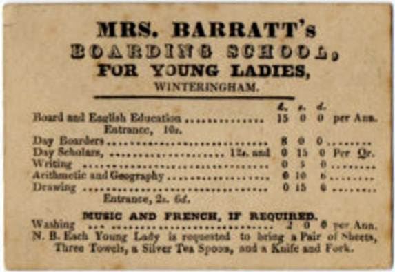 If it's anything like Mrs. Barratt's Boarding School For Young Ladies, then this may help us solve the mystery of what's being taught. And why the heck is arithmetic and geography paired together?