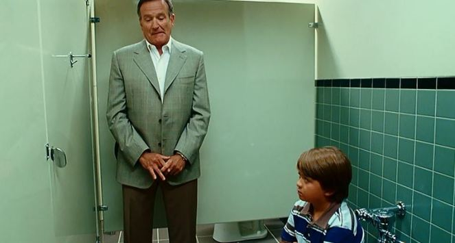 Ugh...imagine having Robin Williams next to you while you're trying to p...use the bathroom? Ugh!