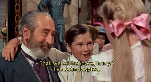"""Why, Mr. Pendergast, you're adopting Jimmy! Why, that's...how the heck is that a surprise for me?"""