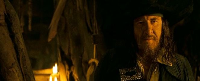BARBOSSA!!! Yep, Geoffrey Rush reprises his role as Barbossa in this cameo that I'm sure will be explained in the next film. Apparently, this twist wasn't even told to the cast, so their looks of shock when seeing him descend from the stairs are quite real.