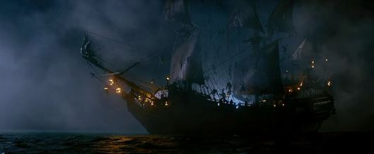 The ship presents itself as a fearful sight to behold to passing ships.