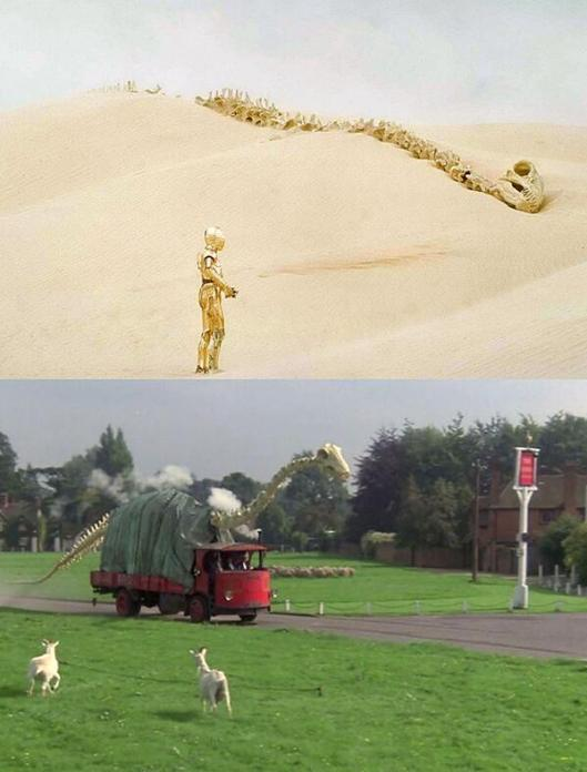 Here's another cool Star Wars-related fact. The dinosaur skeleton from this film was used in a desert scene in one of the Star Wars films, Episode V, I believe.