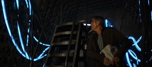 Even Clooney looks surprised that he has a teleportation device!